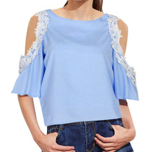 1744388b487 FEITONG Fashion Cold Shoulder Blouse Women Summer Autumn Striped Blouses  Lace Top Blue Pink blusa listrada