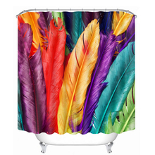 3D Pattern Shower CurtainsColorful Feathers and Bamboo Forest Bathroom Curtain Waterproof Thickened Bath Customizable