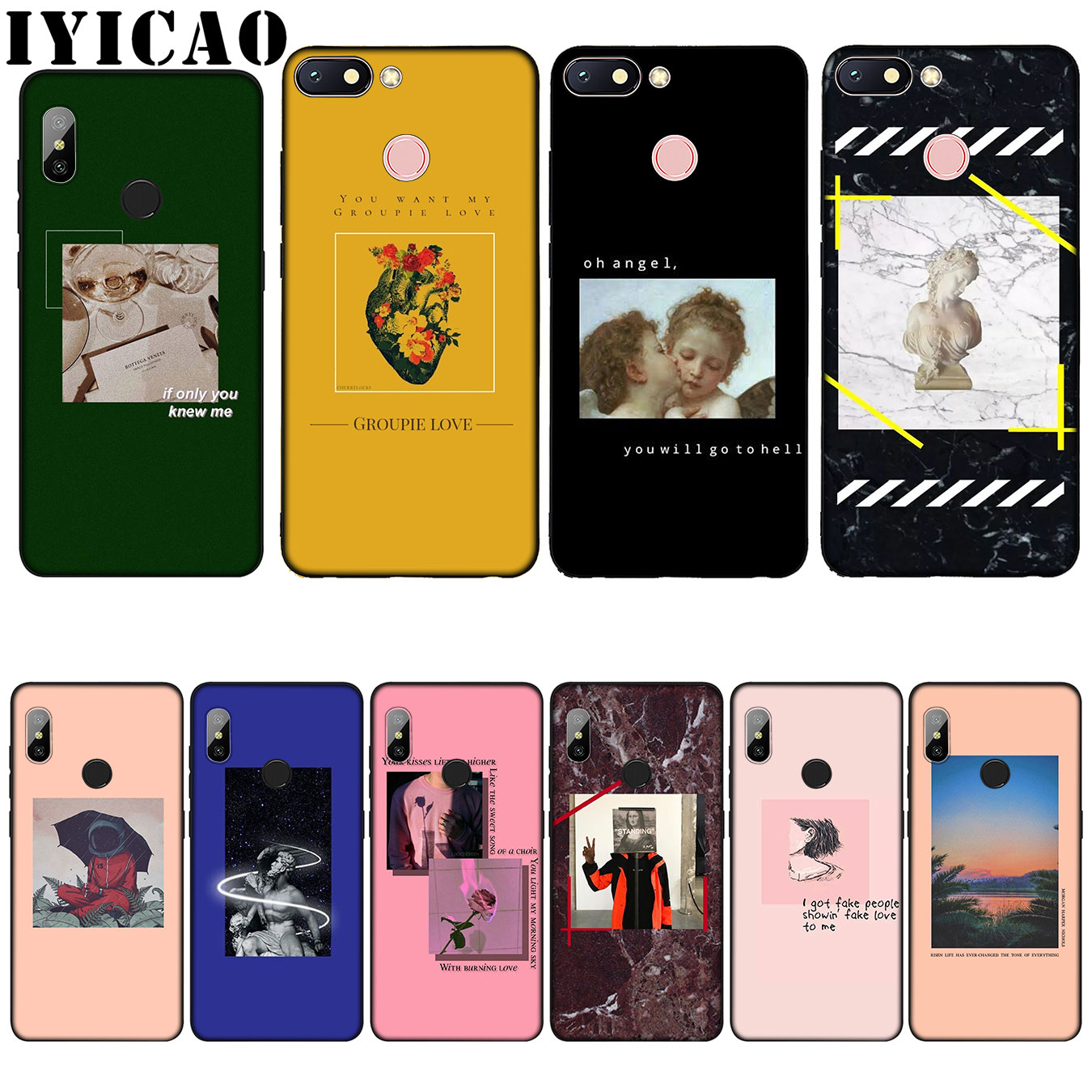 IYICAO Great art aesthetic van Gogh Mona Lisa David-love Silicone Soft Case for Xiaomi Redmi 6A 5A Note 7 4 4X 5 Plus 6 Pro