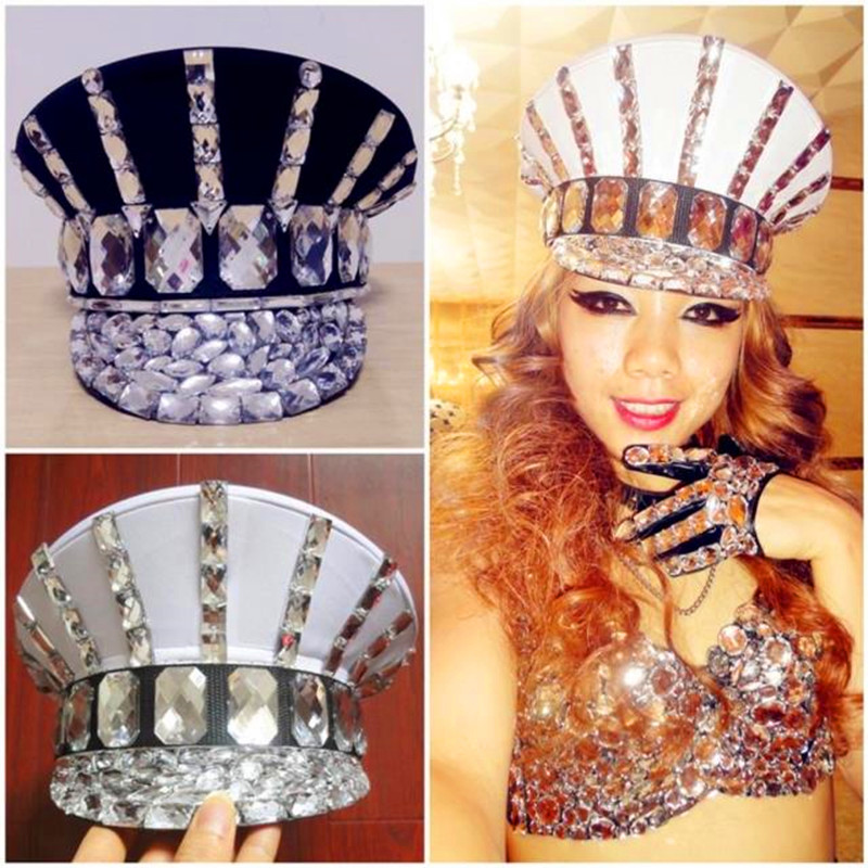 Ds costume bling baby hats sparkling diamond rhinestone black white performance cap roupa feminina beyonce dance costume