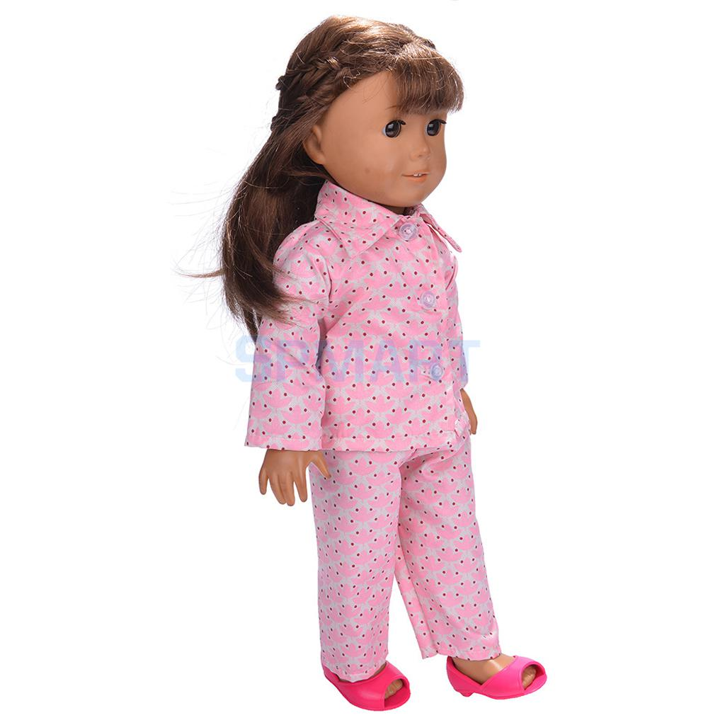 Doll-Pajamas-Nightgown-Sleepwear-Clothes-Outfit-Top-Pants-Set-for-18-inch-American-Girl-Doll-5
