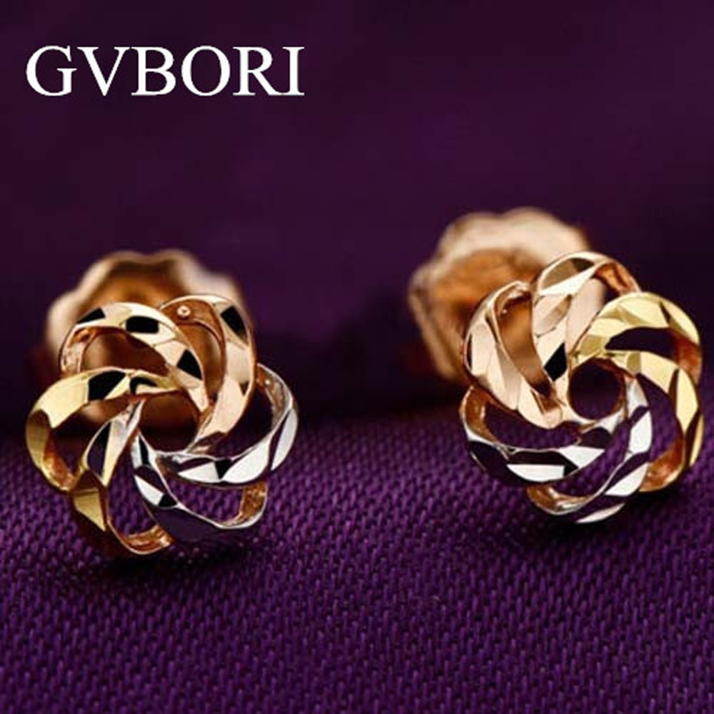 US $56 72 5% OFF 18K Solid Gold 1 Gram Lowest Price Women earrings Flower  Design Free Shipping Three colors-in Earrings from Jewelry & Accessories on