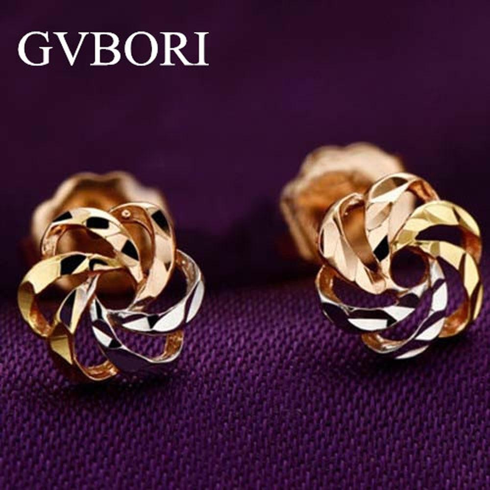 18k Solid Gold 1 Gram Lowest Price Women Earrings Flower Design