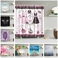 Fashion Waterproof Hanging Decor Fabric Bath Shower Curtain Bathroom Set Drapes Panel 12 Hook