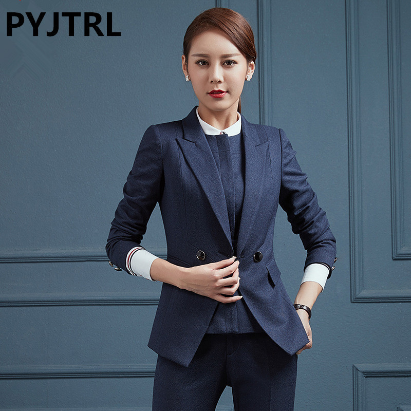 PYJTRL Brand Women Two-piece Suits Fashion Two Buttons Style Black Navy Blue Lapel Manager Work Interview Clothes Trouser Suit