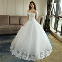 LOVSKYLINE Luxury Bling Wedding Dresses 2018 Ball Gown Long Tail Ivory Embroidery Lace Edge Short Sleeve 5