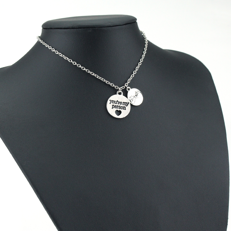 New Handmade Grey Anatomy Necklace Letter You Are My Person Hand in Hand Pendant Necklace Gifts Jewelry