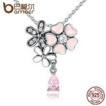 BAMOER Collar Clásico 925 de Plata Esterlina Corazón Rosa Flor Flor de Cerezo 45 CM Colgantes y Collares Mujeres Joyería Fina SCN046