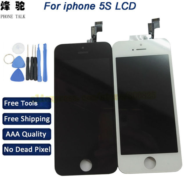 10 unids/lote para iphone 5s pantalla lcd táctil digitalizador con marco asamblea reemplazo + herramientas gratuitas, envío Libre de Dhl