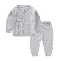 Baby Infant Spring Autumn Clothing Set Toddler Knitted Top+Pants Suit Kids Soft Cotton Cardigan Outfits Casual Set AA12185