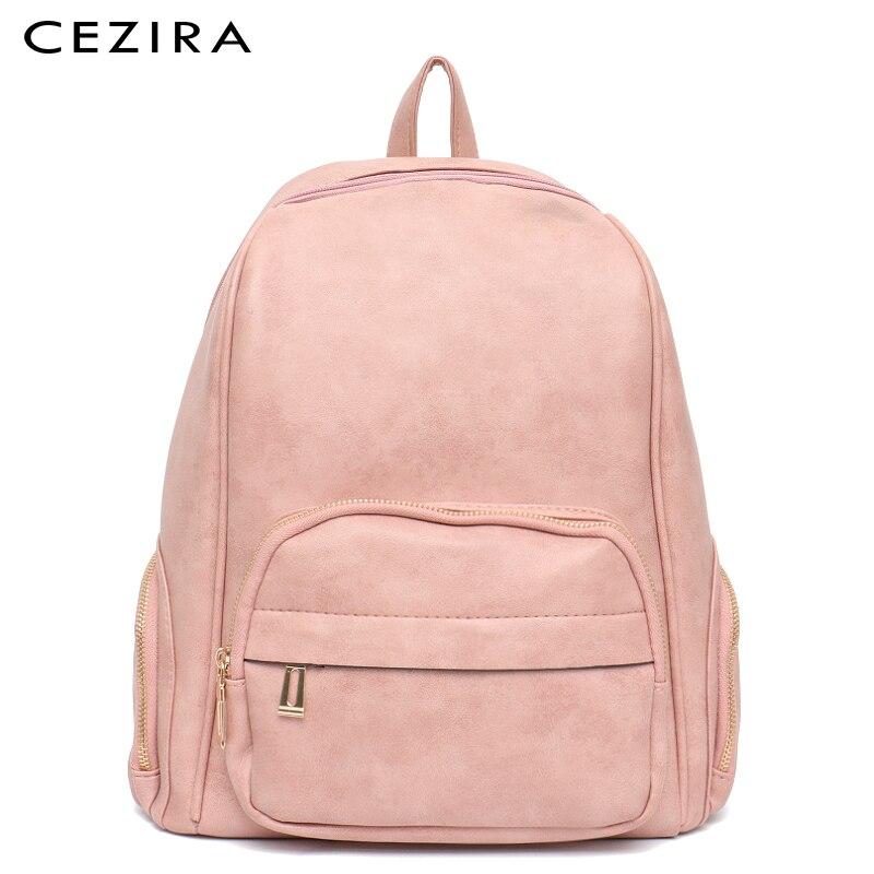 cezira new women vegan leather backpacks school girl fashion luxury travel bag multi pocket bags