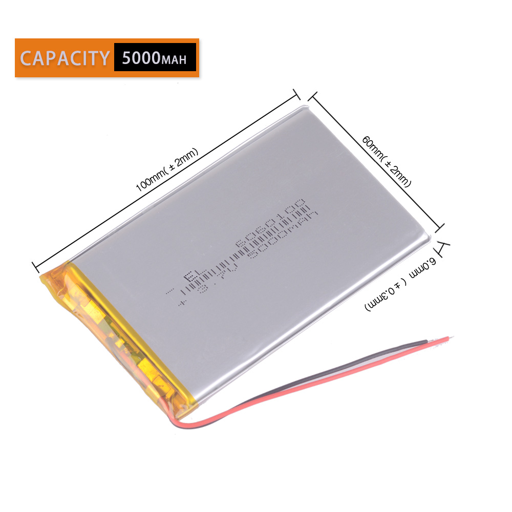 Li Po Li-ion Batteries Lithium Polymer Battery 3 7 V Lipo Li Ion Rechargeable Lithium-ion <font><b>6060100</b></font> 5000mAh Bateria Replace image