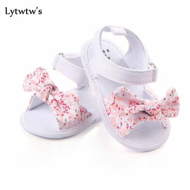 1 זוג Lytwtw של ילדי תינוק ילדים בני בנות נעלי החלקה בד Bowknot פעוטות יילוד Infantil סנדלי