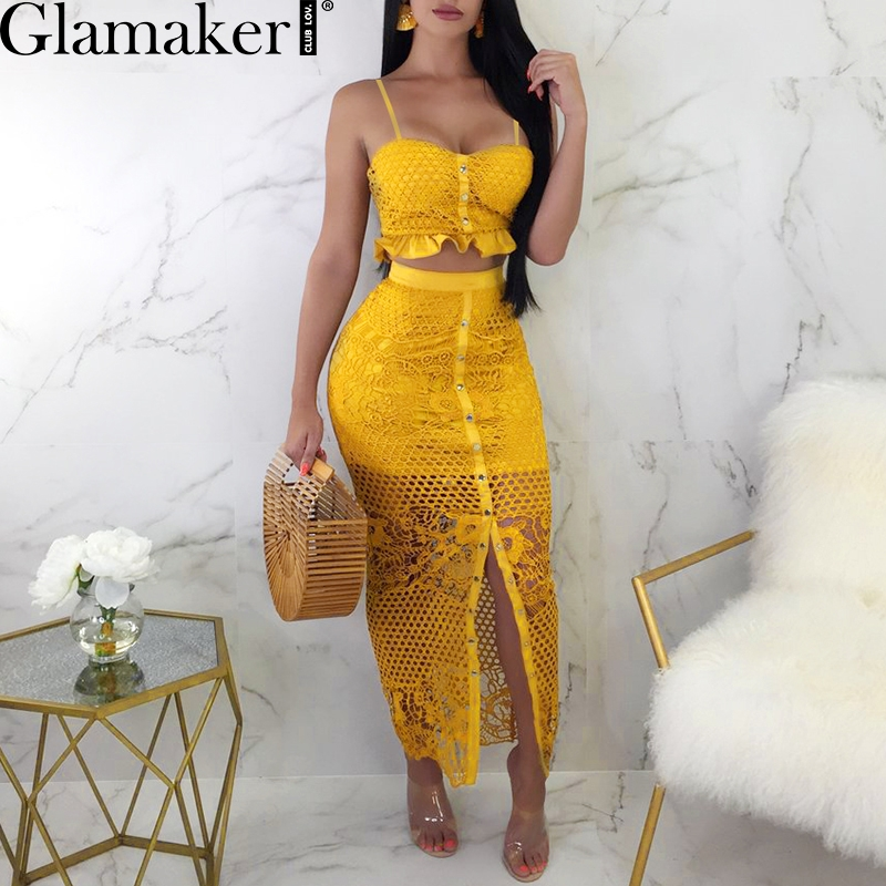 Glamaker Hollow out mesh split two-piece suit dress Christmas fitness ruffle button sundress Women party dress vestidos de festa