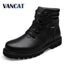 Vancat большой Размеры Для мужчин кожаные сапоги зимние теплые мужские мотоботы 100% натуральная кожа мужские полусапоги блеск Настоящая кожа