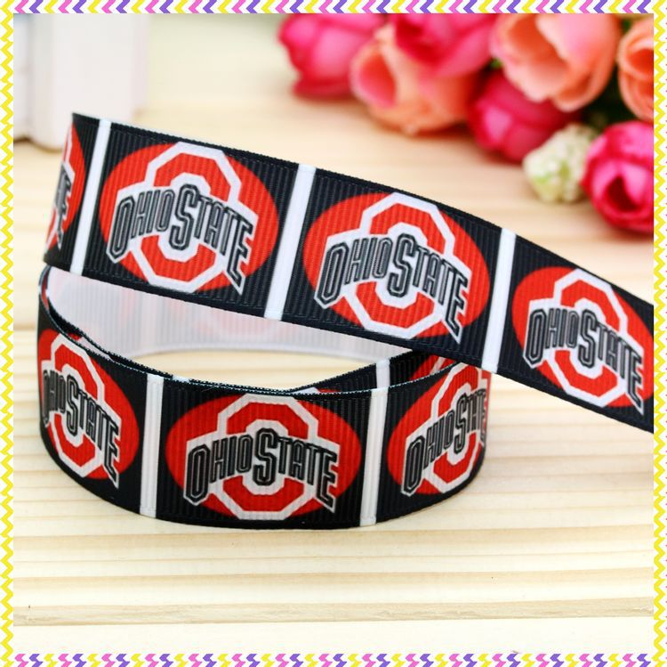 78'' Free shipping sport team printed grosgrain ribbon hairbow headwear party decoration diy wholesale OEM 22mm P3600