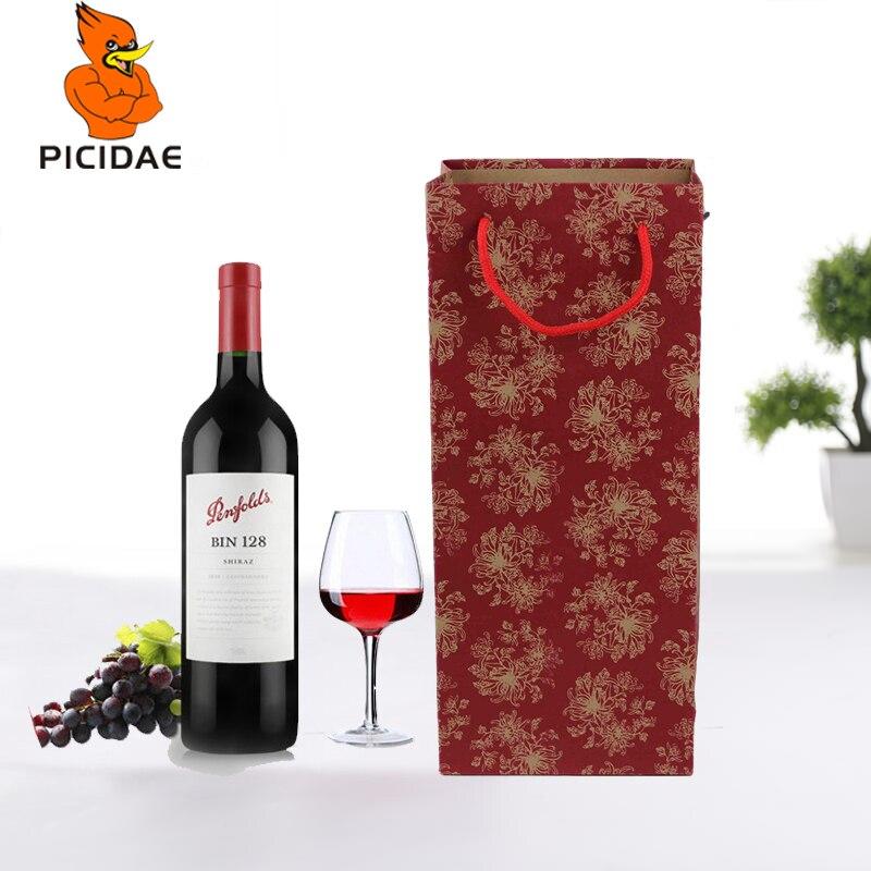 50 шт. крафт бумага. Упаковка для вина, Высококачественная сумка с ручкой в сложенном виде, Экологичная коробка для хранения на новый год, Рождество, фестиваль, портативная подарочная коробка