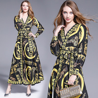 new product show thin tie belt loose big pendulum can be printed cardigan long sleeved dress aristocratic temperament