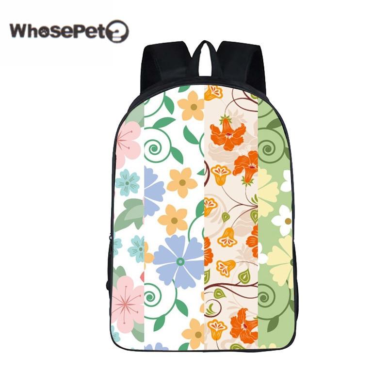 WHOSEPET Vintage Flower Schoolbag Girl Fresh Korean Style Shoulder Book Bag Retro School Rucksack Women Travel harajuku Backpack