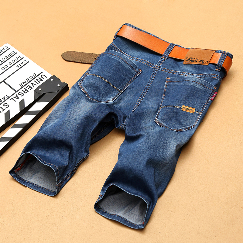 2018 New Fashion Summer Mens Jeans Short Blue Jeans Stretch Short Jeans Straight Short 98% Cotton Stretch Shorts Breathable Jea