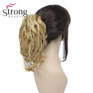 Image 4 - StrongBeauty قصيرة صغيرة الضفائر مزين مستقيم متموجة شعر مستعار لعمل تسريحة ذيل الحصان هيربيسي المخلب كليب اللون الخيارات