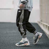 CHINISM 2018 Winter Side Stripe Fleece Casual Pants Male Loose Hip Hop Jogger Pants Drawstring Swag T Cotton Sweatpants