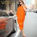 Voa orange jacquard vestido largo de verano 2015 patchwork o-cuello flojo para arriba-escala de seda robe a6269