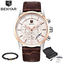 BENYAR reloj para hombre reloj de cuarzo de marca top lujosa para hombre reloj deportivo elegante analógico con correa de cuero para hombre reloj de pulsera nuevo resistente al agua