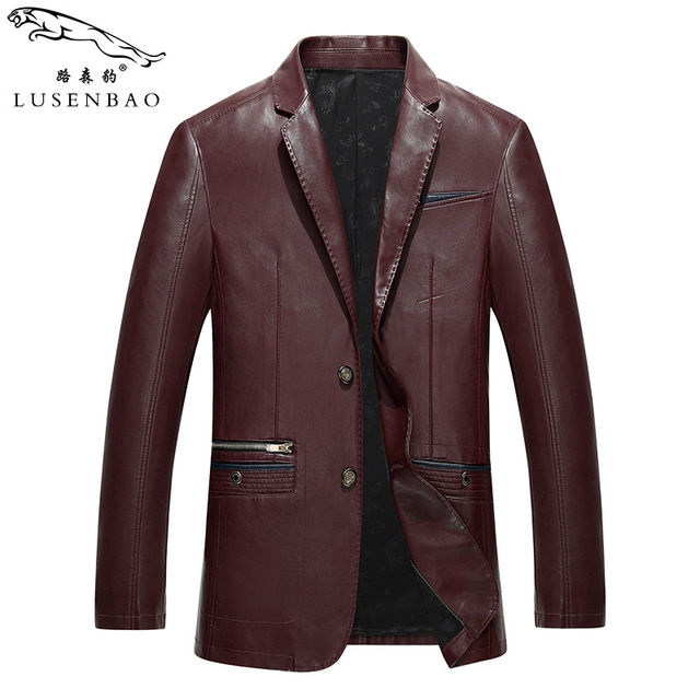2016 Spring Men Black  Leather Jacket Men's Casual Leather Clothing Men Turn-down Collar Slim Suit Coat High Quality Leather
