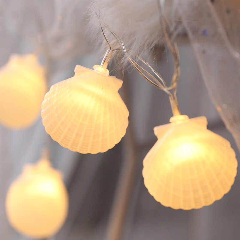 10/20 Leds Seashells String Lights Fairy Lights Ocean Christmas Garlands Battery Operated LED String Lights Home Decoration