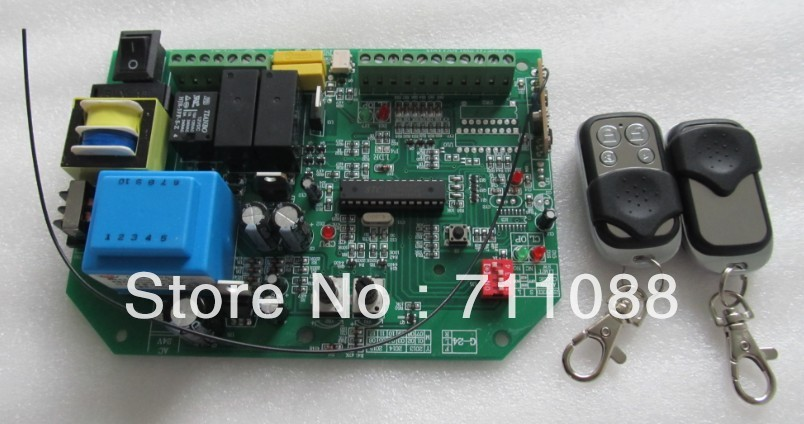 AC sliding gate opener control board with 2pcs remote control,learning code free shipping 2pcs remote learning code automatic door controller with remote controller 12 36vdc ac