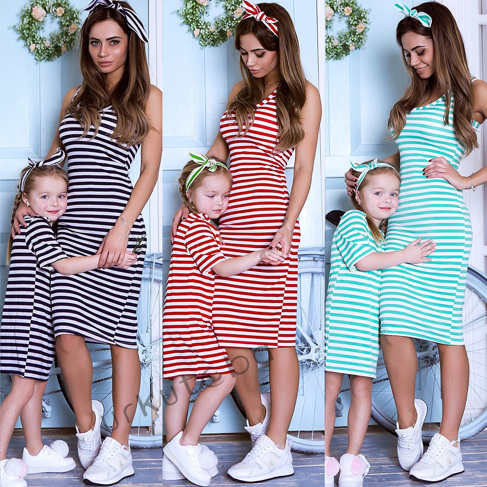 Fashion Women Girl Mother Daughter Long Matching Dresses Summer Clothes Outfits