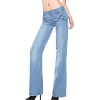 New 2015 Fsshion Lager Size Wide Leg Pants Women Light Blue Casual Full Length Loose Denim
