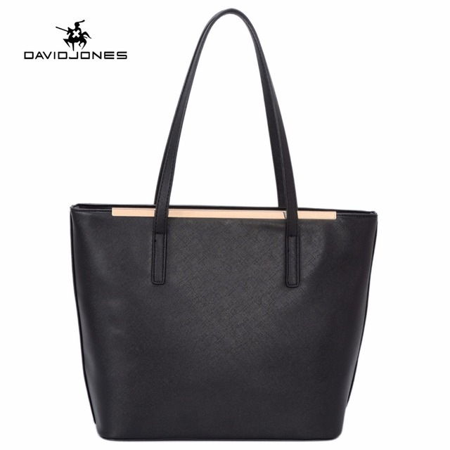 9280c163a43e DAVIDJONES women handbag faux leather female shoulder bags large lady solid  tote bag girl brand shopping bag drop shipping