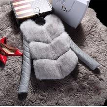 Winter New Arrival Women Fashion Fox Fur Coat PU Patchwork Long Sleeve Jacket Rabbit Fur Slim and Short Jackets