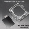 Cubierta suave de tpu case protecter protectora + film protector de vidrio templado para apple watch 38mm 42mm