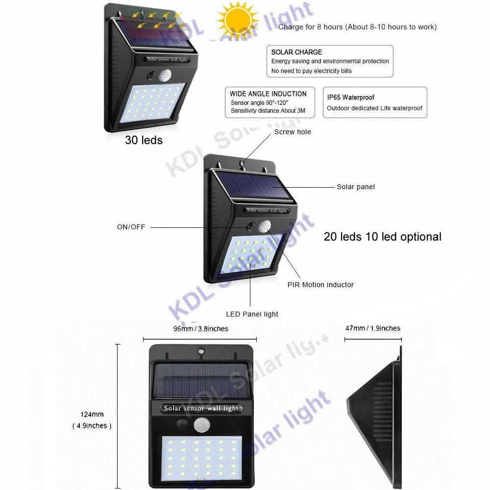 30 светодиодов лампа на солнечной батарее Светодиодная лампа сплит солнечная панель движения водонепроницаемый сад гараж патио фонарь безопасности ограждение для веранды Декор аварийный