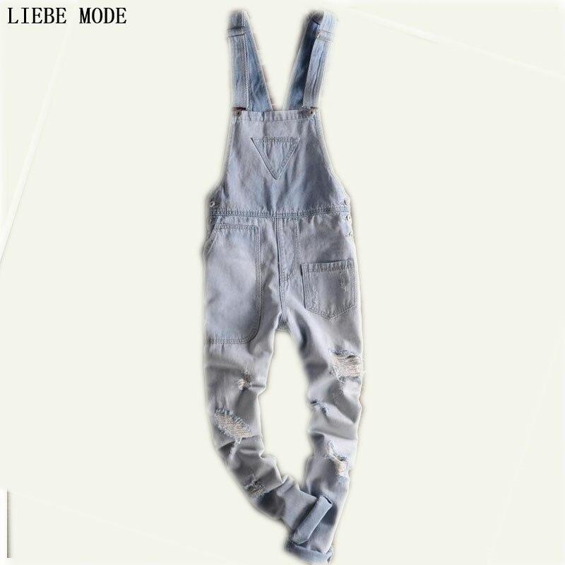 Adult Mens Blue Overalls Jumpsuit Suspender Pants Denim Overalls Men Salopette Jeans
