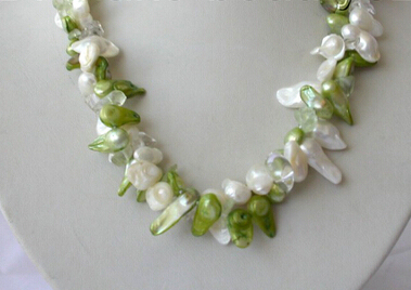 FREE SHIPPING>>>@@ AS2032 classic 2strands white green biwa freshwater pearl crystal necklace