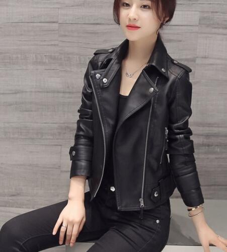3xl 2018 New Design Spring Autumn PU   Leather   Jacket Faux Soft   Leather   Coat Slim Black Motorcycle Women Jacket