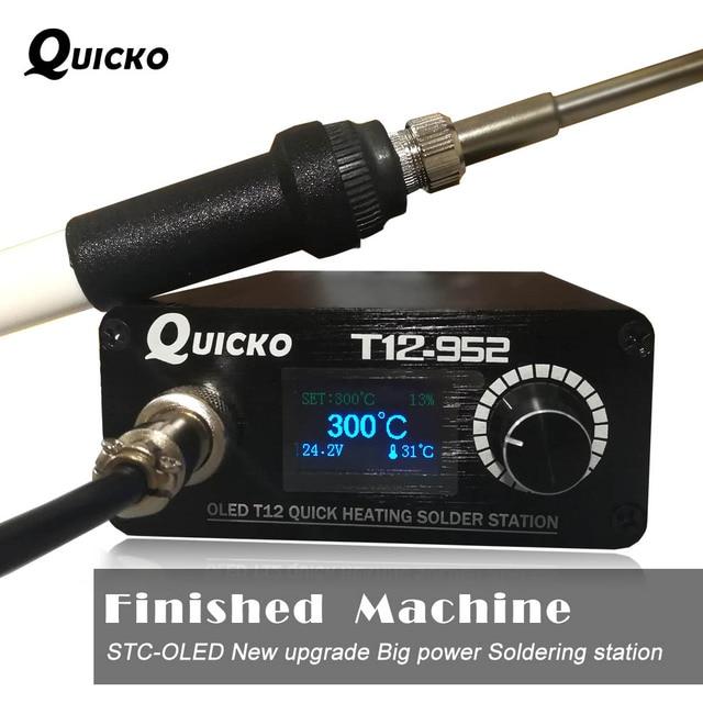 Szybkie ogrzewanie T12 stacja lutownicza spawanie elektroniczne żelazko 2020 nowa wersja STC T12 OLED cyfrowa lutownica T12 952 QUICKO
