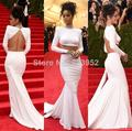 2016 Latest Met Gala Rihanna White Dress Jewelry High Neck Twp Piece Backless Mermaid Celebrity Dresses Red Carpet Dress