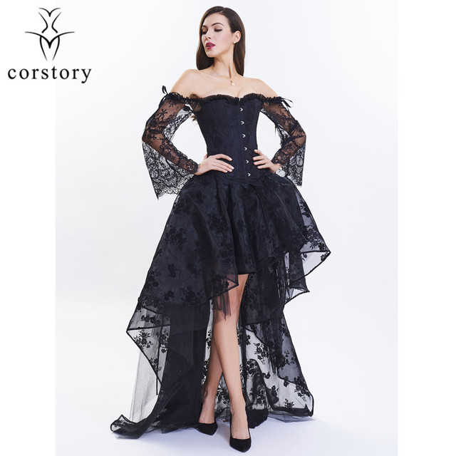 a6f673a3f051f Corstory Off Shoulder Long Sleeve Black Lace Overbust Corset Skirt Body  Shaper Women Costume Steampunk Victorian