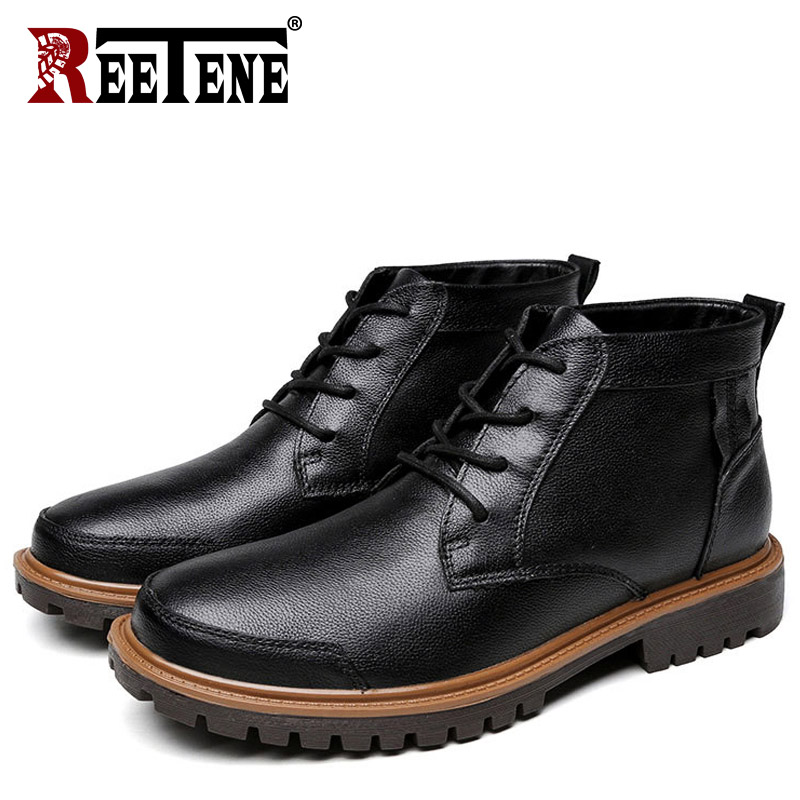 REETENE Autumn Winter Winter Men Boots Men Genuine Leather Plush Boots Waterproof Motorcycle Warm Boots Men Fur Snow Boots