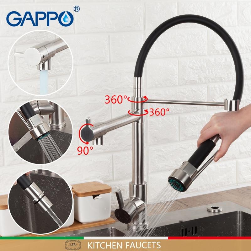 GAPPO torneiras de cozinha torneira da pia de cozinha em aço Inoxidável preto pull out kitchen mixer deck montado misturador de água da torneira