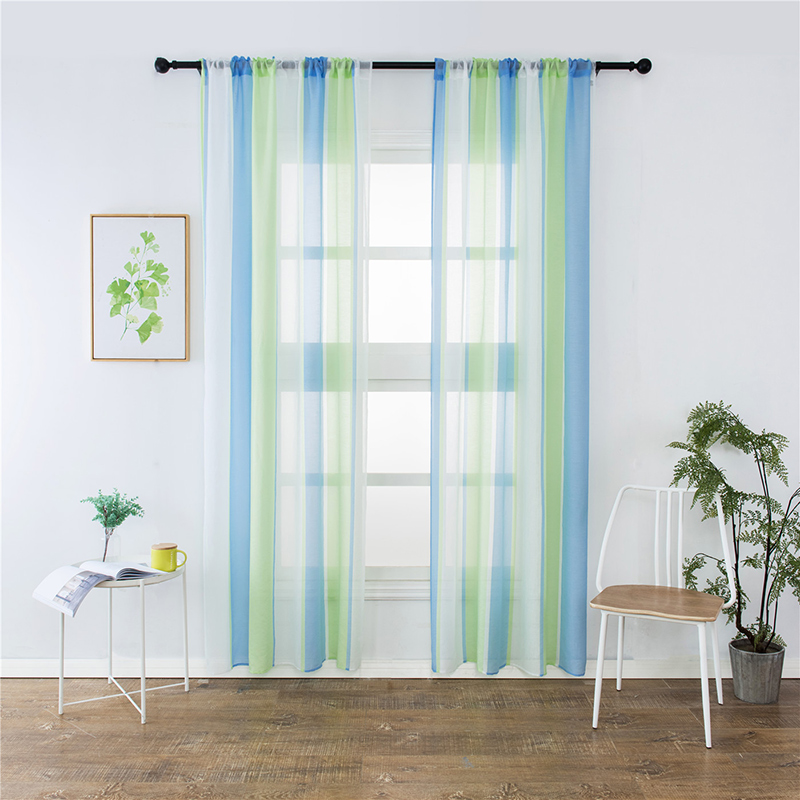 New striped colorblock curtains for window treatment - Glass block windows in living room ...