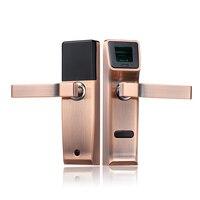Biometric Electronic Door Lock Fingerprint, Mechanical Key Digital Keyless Lock Smart Entry Zinc Alloy lk904RC