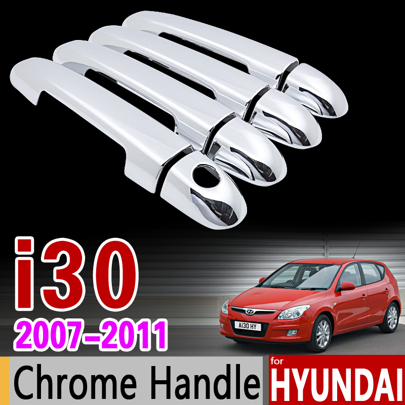 for Hyundai i30 2007 - 2011 FD Chrome Door Handle Cover Trim Set 2008 2009 2010 Never Rust Car Accessories Stickers Car Styling abs chrome front grille around trim for ford s max smax 2007 2010 2011 2012
