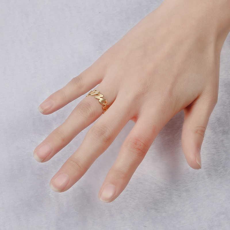 DUOYING пользовательское имя кольцо персонализированное Золото Цвет Свадебные кольца выгравированы ваше имя ювелирные изделия инициалы Открытое кольцо поставка для Etsy