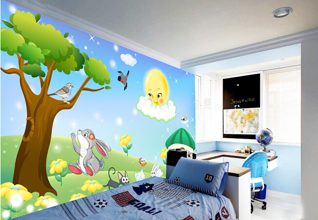 Custom papel DE parede infantil,cartoon animals used for boys and girls children room bedroom setting wall wallpaper custom papel de parede infantil space shuttle orbiting earth 3d cartoon mural for children room bedroom wall vinyl wallpaper